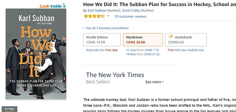 How We Did it by Karl Subban on Amazon